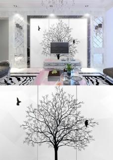 现代简约黑白发财树小鸟图案简洁背景墙