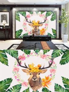水彩鹿背景墙设计