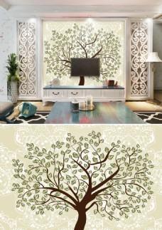 现代插画树背景墙