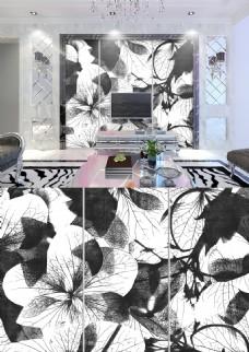 现代简约黑白灰色调花朵纹理背景墙