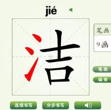 中国汉字洁字笔画教学动画视频