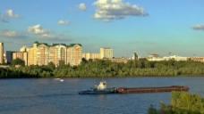 城市建筑河流视频