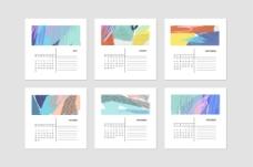风景抽象日历插画时尚风格矢量源文件