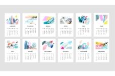 水彩日历创意抽象插画时尚风格矢量源文件