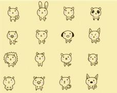 卡通矢量儿童动物背景