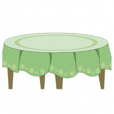 手绘圆桌桌布元素