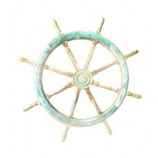 蓝色船舵大海元素