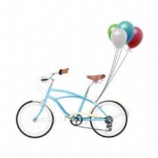 蓝色单车气球元素