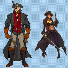 两个威猛的海盗免抠png透明图层素材