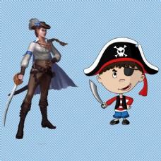 卡通可爱海盗免抠png透明图层素材