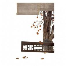 褐色竹帘走廊元素