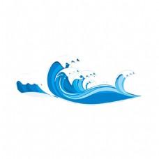 手绘大海海浪元素