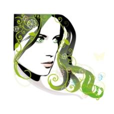 手绘绿发美女元素