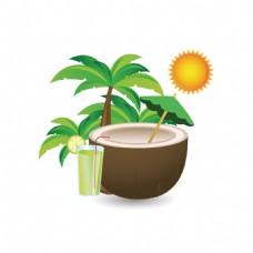 手绘夏日椰汁元素