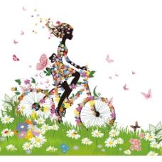 清新花朵单车元素