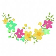 彩色半圆花环夏季小清新矢量素材