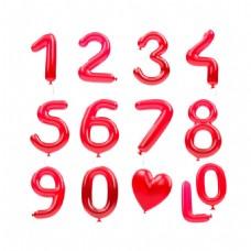 手绘红色数字元素