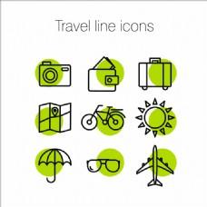 9款绿色旅行细线图标矢量