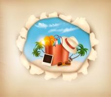 破洞纸张夏日暑假海边沙滩元素矢量素材