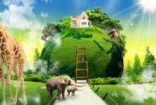 地球合成创意插画设计