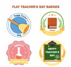 4款彩色教师节快乐标签矢量