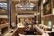 现代奢华客厅背景墙效果图