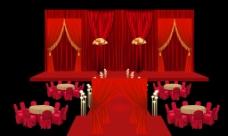 红色中式婚礼舞台效果图设计