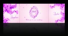 粉色婚礼迎宾区