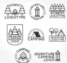 创意森林野营标志