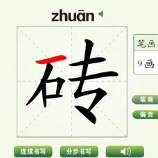 中国汉字砖字笔画教学动画视频