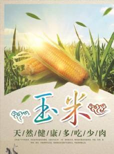 有机新鲜玉米蔬菜促销海报