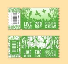 2款绿色动物园门票矢量素材