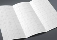 展开的三折页宣传单样机