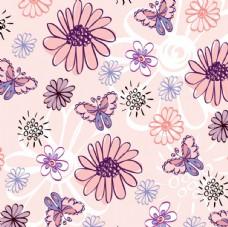 欧美卡通花朵 矢量图案