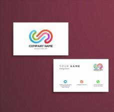 白色简约多彩logo名片模板