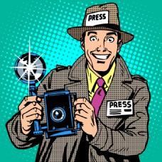记者欧美卡通海报漫画风格人物矢量素材