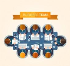 创意商务会议人物俯视图矢量