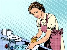 厨房洗碗的女人海报漫画风格人物矢量素