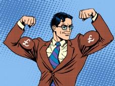 大力士海报漫画风格人物矢量素材