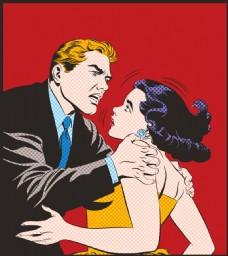 情侣吵架欧美卡通海报漫画风格人物矢量