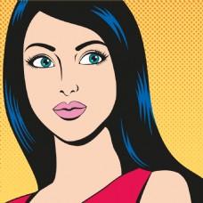 蓝色长发欧美卡通海报漫画风格人物矢量