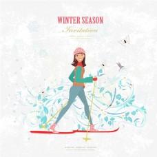 手绘女生冬天滑雪插画矢量设计素材
