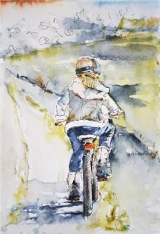 水彩绘骑自行车的女生背景
