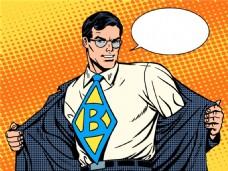 超人海报漫画风格人物矢量素材