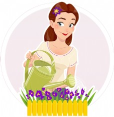 浇花的妈妈插画
