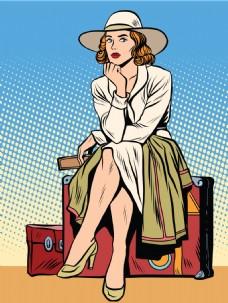 坐在旅行箱的女人漫画风格人物矢量素材