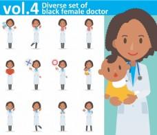 卡通白大褂护士医生矢量人物各种表情素材
