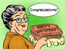 烤饼干海报漫画风格人物矢量素材
