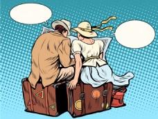 卡通对话海报漫画风格人物矢量素材