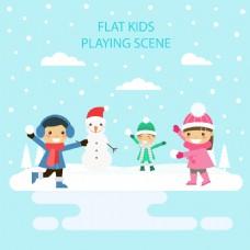 冬天堆雪人的孩子插画